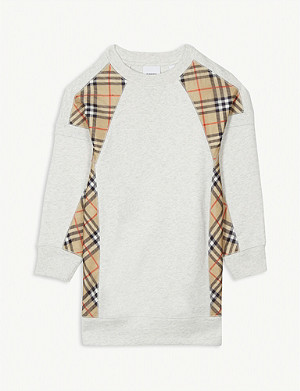 BURBERRY Check panels cotton jumper dress 3-14 years