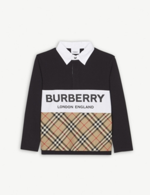 BURBERRY Check panel long sleeve polo shirt 3-14 years