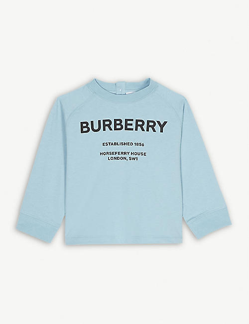 BURBERRY Horseferry logo cotton long-sleeve top 6-24 months