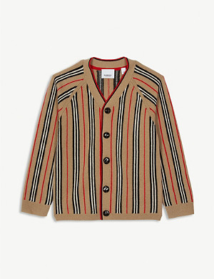 BURBERRY Terry Icon Stripe wool and cashmere-blend cardigan 3-14 years