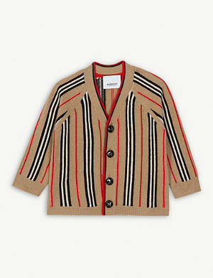 BURBERRY Terry Icon Stripe wool and cashmere-blend cardigan 6-24 months
