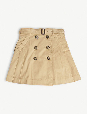 BURBERRY Pleated cotton trench skirt 3-14 years