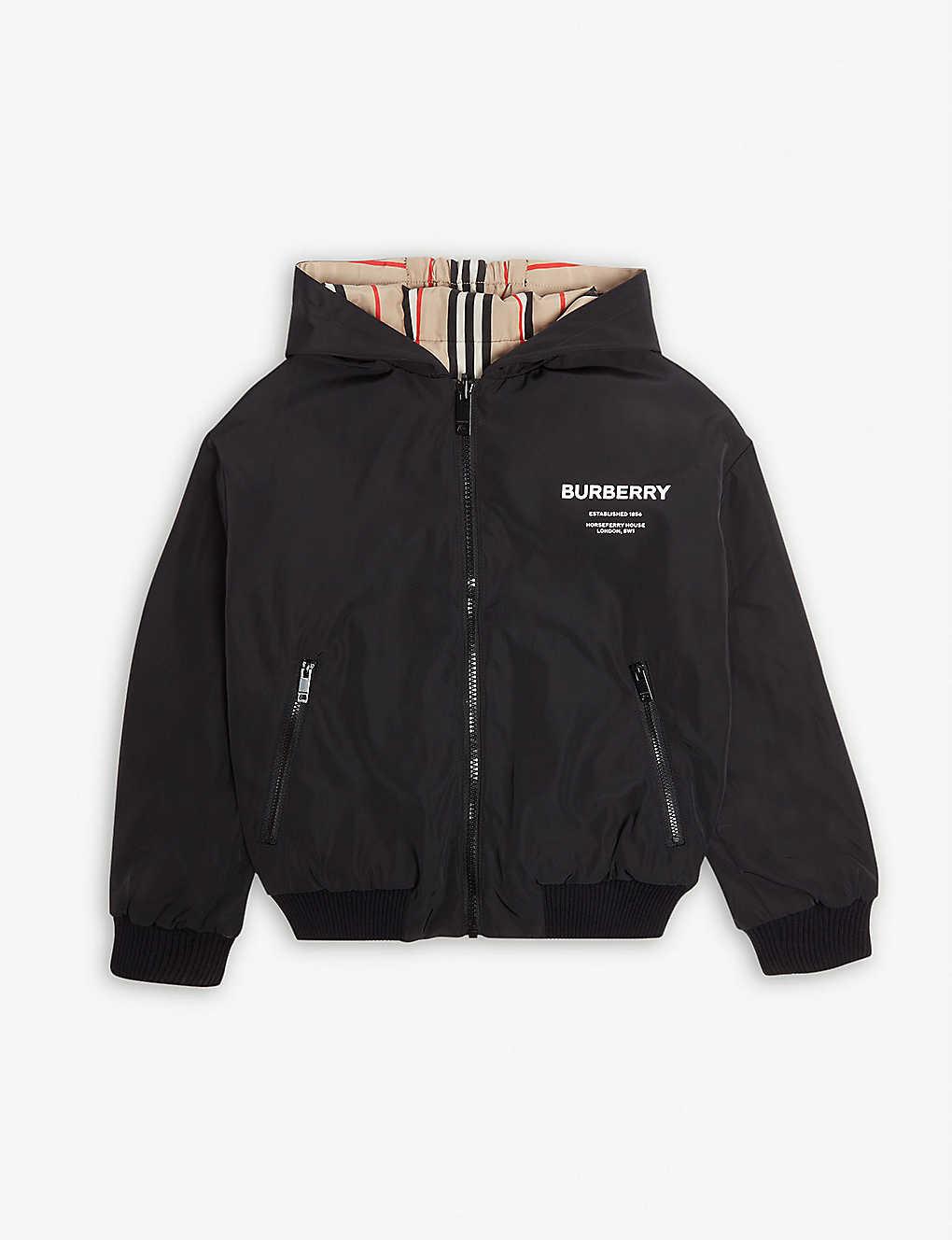 a280ee349540d ... Tommy reversible Icon stripe jacket 6-14 years - Black stripe ...