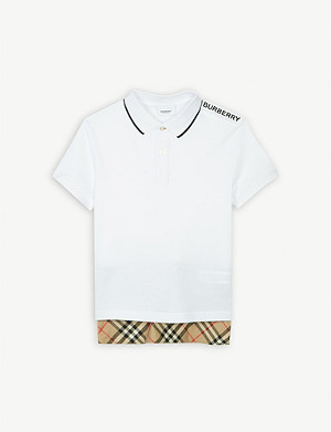 BURBERRY Long hem cotton polo shirt 3-14 years