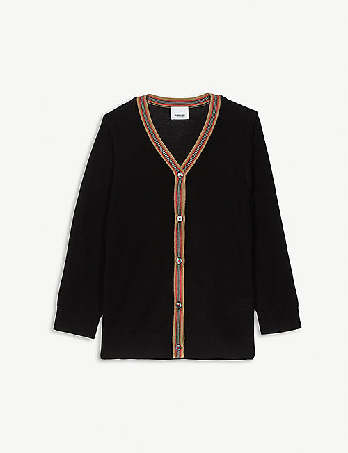 BURBERRY: Josie Icon stripe wool cardigan 3-14 years