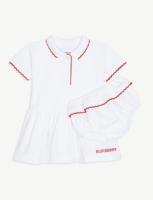 BURBERRY Logo cotton polo dress and briefs set 1-18 months