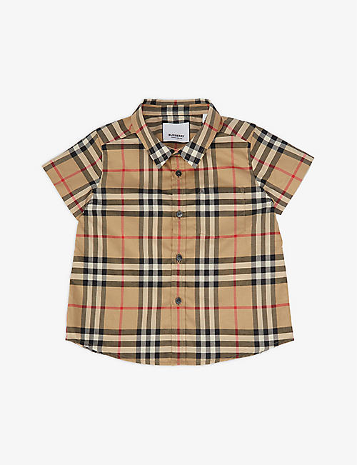 BURBERRY: Fred checked cotton shirt 6-24 months