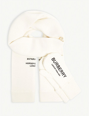 BURBERRY Wool scarf and mittens set