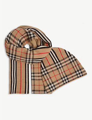 BURBERRY Check and striped wool scarf and hat set