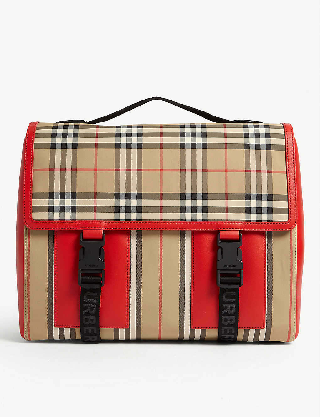 Burberry Bags Check print leather and nylon satchel