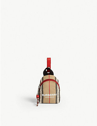 BURBERRY: Icon stripe mini backpack bag charm