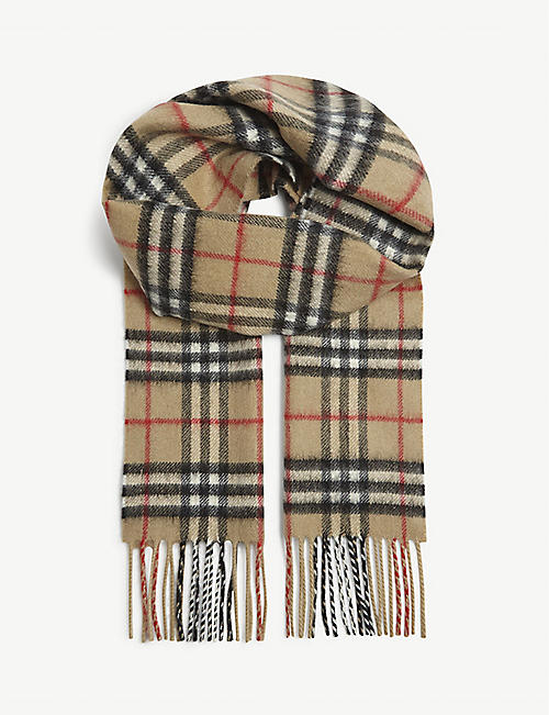 BURBERRY: Kids checked cashmere scarf