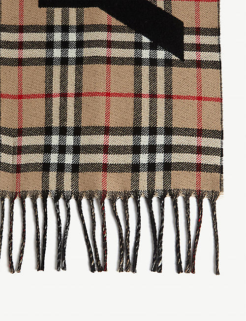 BURBERRY Logo check wool scarf