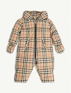 BURBERRY Vintage check down-filled puffer suit 3-18 months