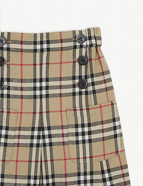 BURBERRY Taren wool check culottes 4-14 years