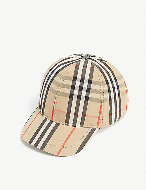 BURBERRY: Kids House check cotton cap 4-12 years