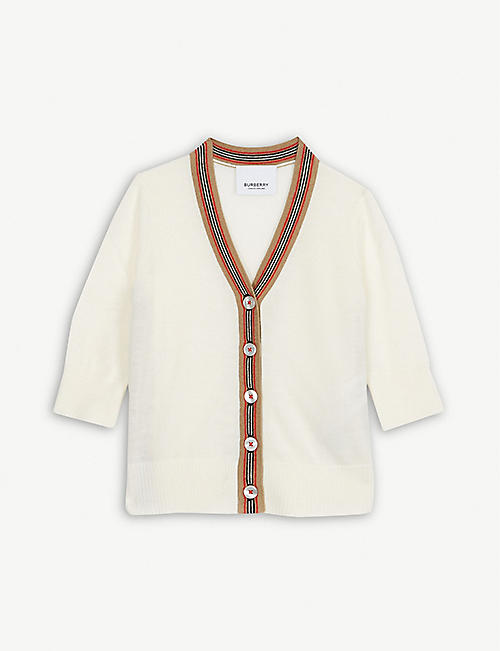 BURBERRY: Josie Icon stripe wool cardigan 6-24 months