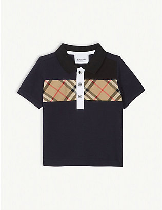 BURBERRY: Check print cotton polo shirt 6-24 months