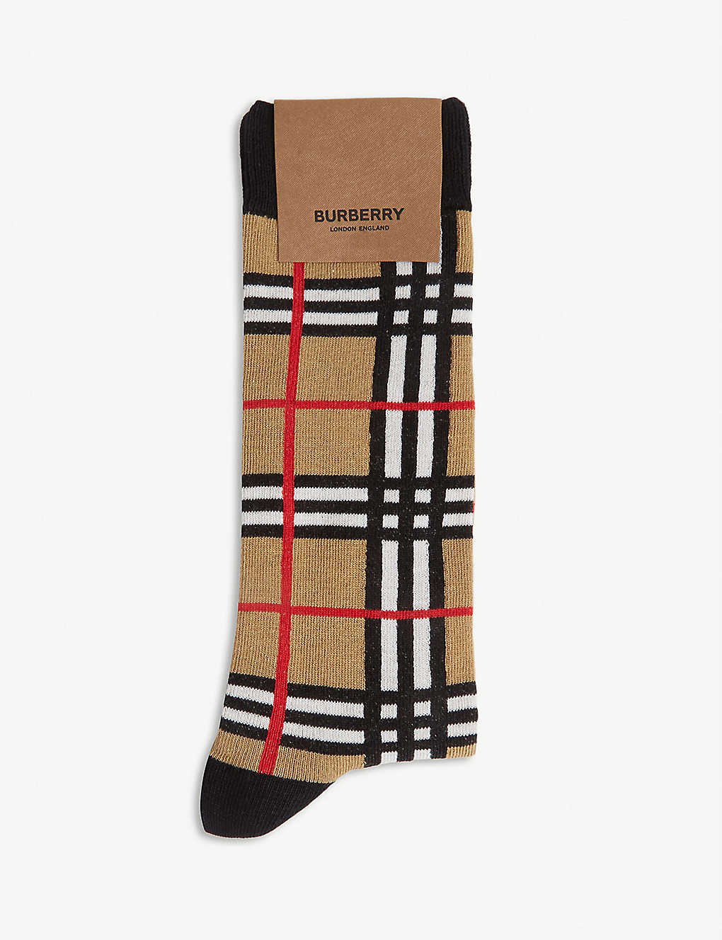 BURBERRY: Archive check cotton-blend socks