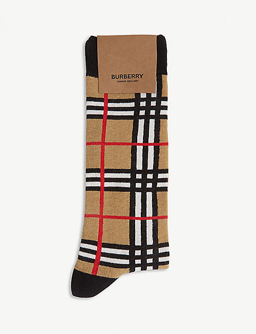 BURBERRY Archive check cotton-blend socks