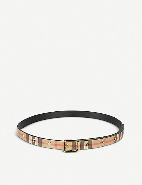 BURBERRY: Lyla checked woven belt 4-6 years
