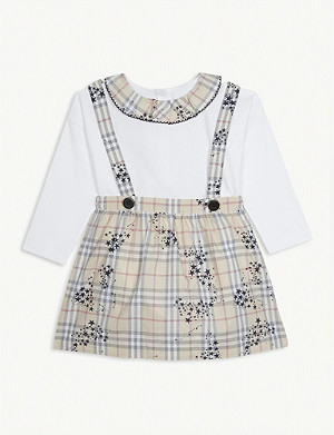 BURBERRY Sofia check print pinafore set 0-36 months
