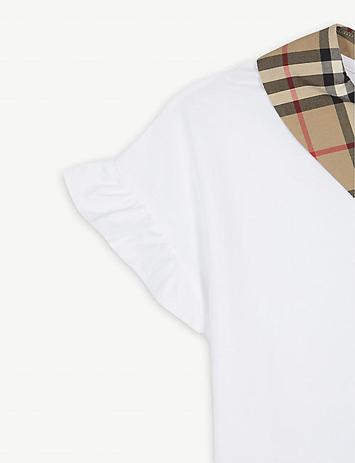 BURBERRY Dita check collar T-shirt