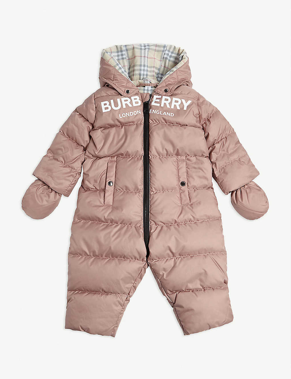 BURBERRY: Skylar padded snowsuit 3-18 months