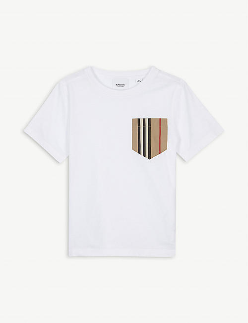 BURBERRY: Icon stripe pocket cotton T-shirt 3-14 years
