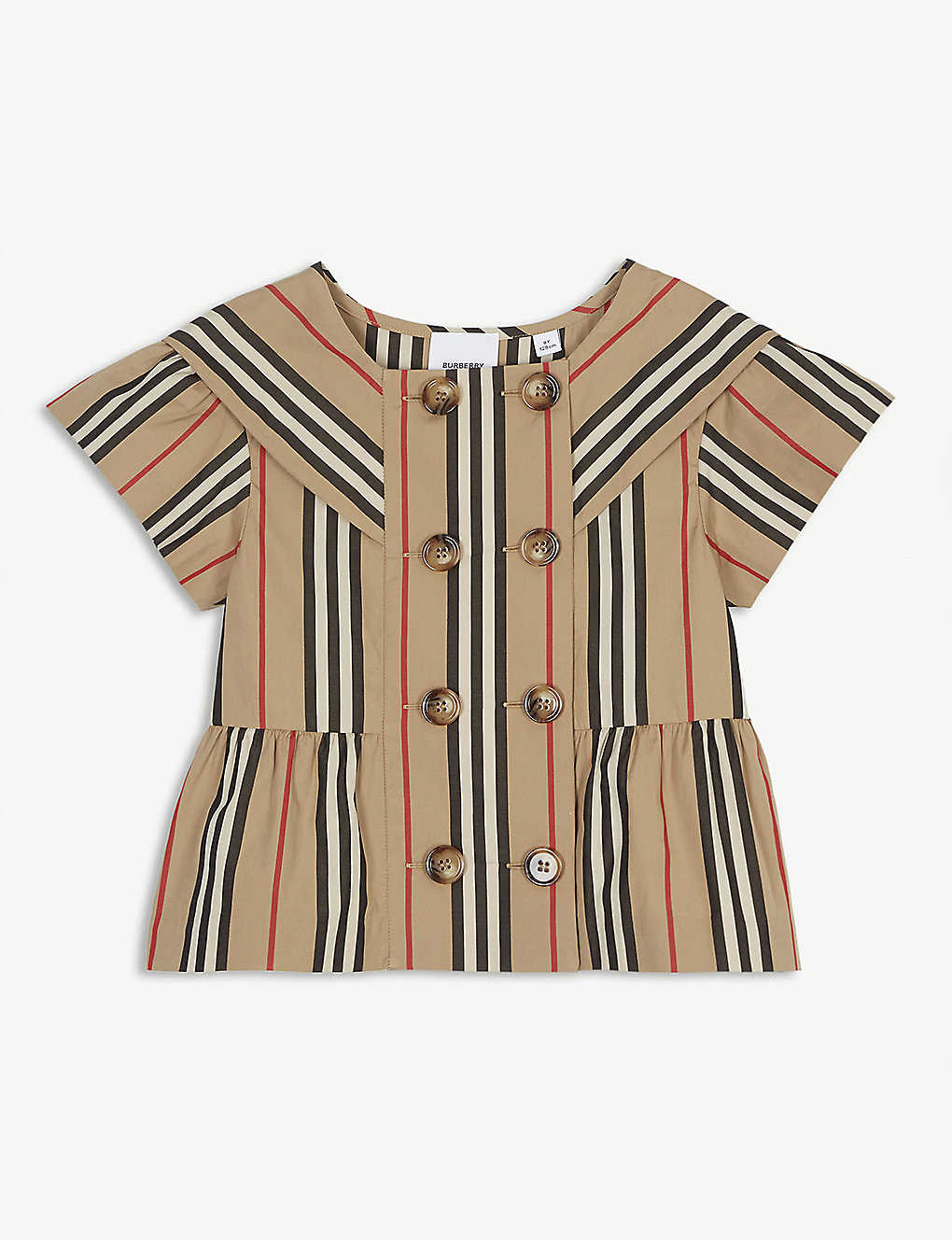 BURBERRY: Icon stripe cotton blouse 4-14 years