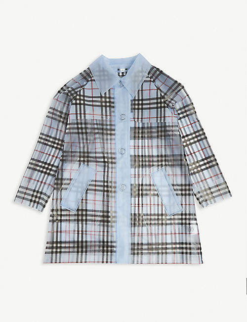 BURBERRY: Libby Check rain mac 6-14 years