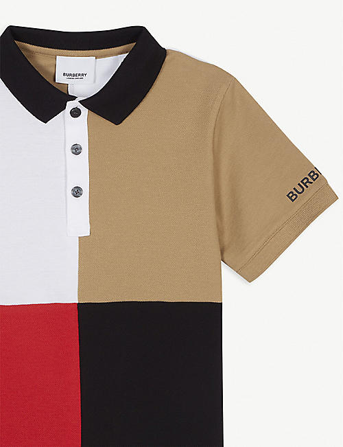 BURBERRY Monty block-coloured cotton polo shirt 3-14 years