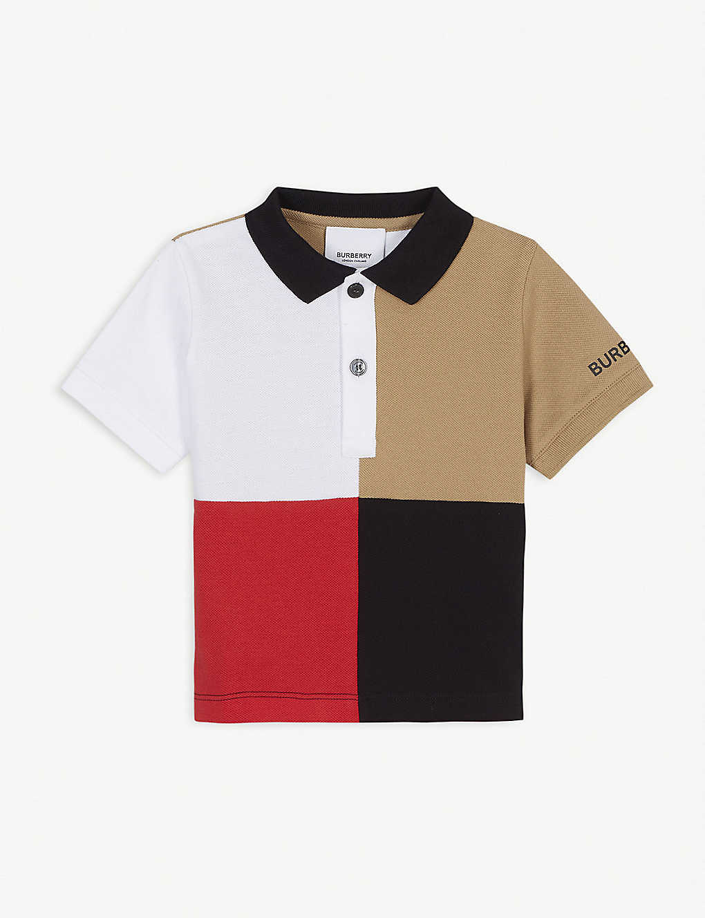 BURBERRY: Monty block-coloured cotton polo shirt 6-24 months