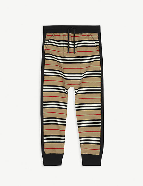 BURBERRY: Lance Icon stripe cotton jogging bottoms 3-14 years
