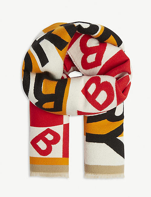 BURBERRY: Kids wool and silk-blend football scarf
