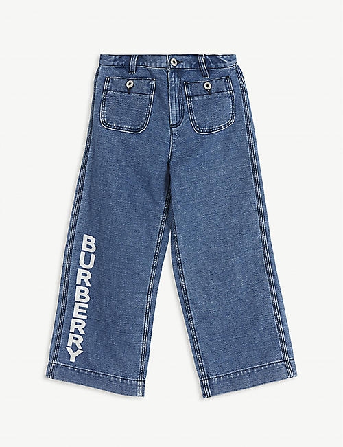 BURBERRY Logo print cotton and linen jeans