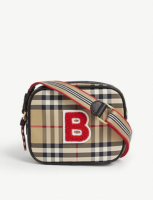 BURBERRY Kids B logo vintage check canvas camera bag