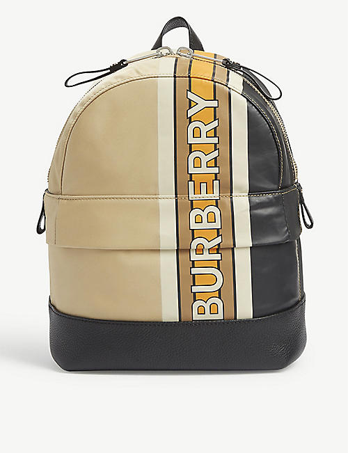 BURBERRY: Kids Nico striped leather backpack