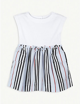 BURBERRY: Ramona Icon stripe cotton dress 6-24 months