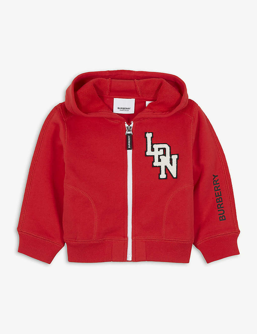 BURBERRY: Logo patch cotton hoody 6-24 months