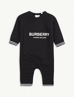 BURBERRY Dalton Horseferry logo cotton all-in-one 1-18 months