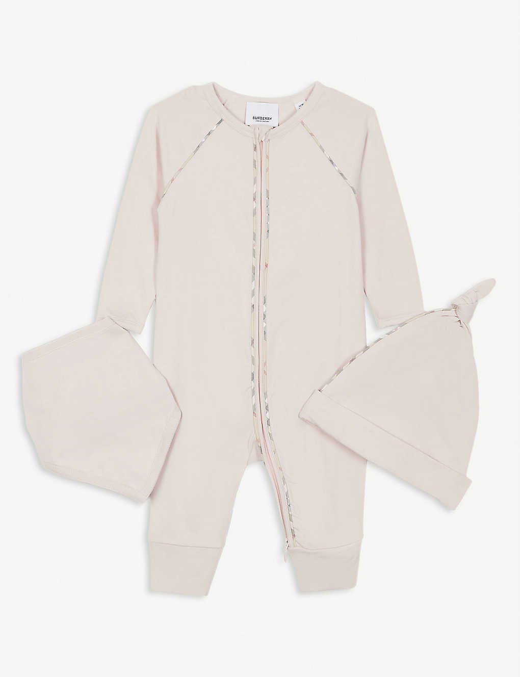 BURBERRY: Dixie cotton babygrow, hat and bib set 1-18 months