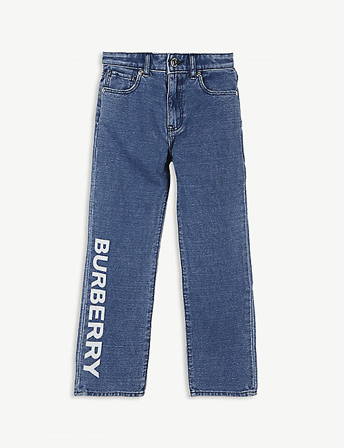 BURBERRY: Logo-print cotton and linen jeans 3-14 years