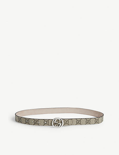 GUCCI: Kids logo buckle leather belt