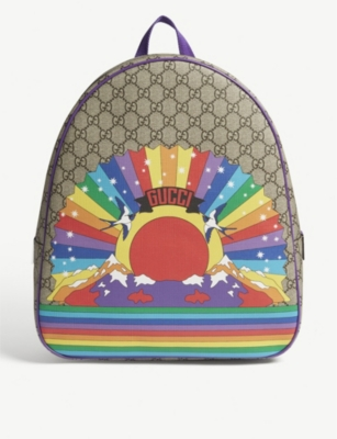 GUCCI Supreme rainbow canvas backpack