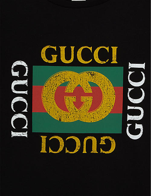 GUCCI Vintage square logo cotton T-shirt 4-10 years
