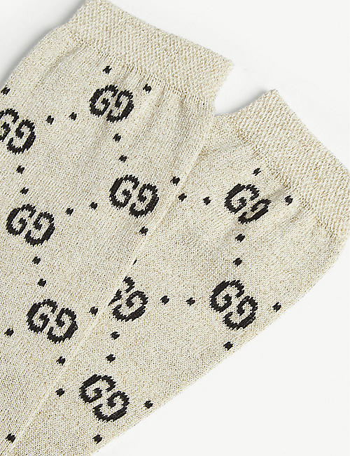GUCCI Interlocking GG cotton-blend lurex socks 6-12 years