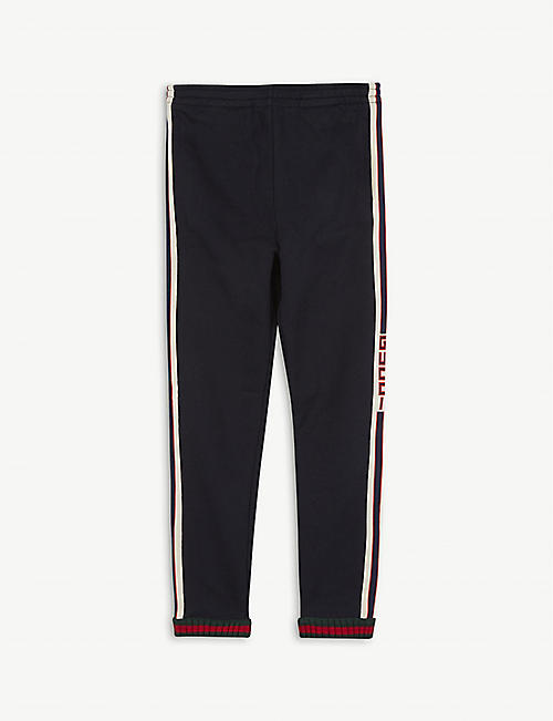 GUCCI: Branded cotton jogging bottoms 4-12 years