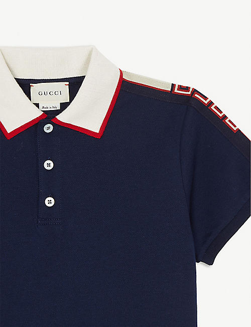 GUCCI Branded cotton-blend polo shirt 4-12 years