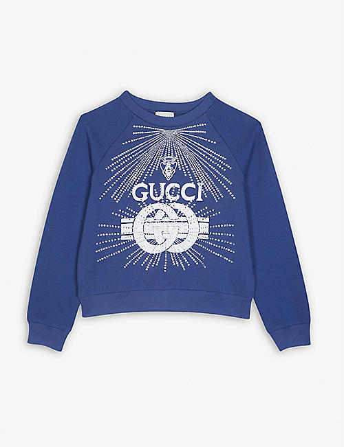 GUCCI Crystal logo cotton sweatshirt 4-10 years f61c0c610173